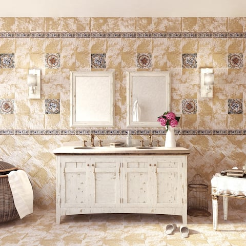 SomerTile 7.75x7.75-inch Terra Amata Tradition Cornflower Ceramic Floor and Wall Tile