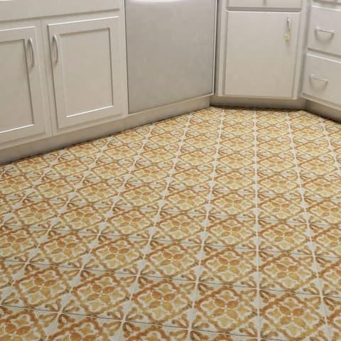 SomerTile 7.75x7.75-inch Gavras Arena Decor Clover Ceramic Floor and Wall Tile