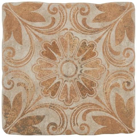 SomerTile 7.75x7.75-inch Gavras Arena Decor Dahlia Ceramic Floor and Wall Tile (25 tiles/11.11 sqft.)