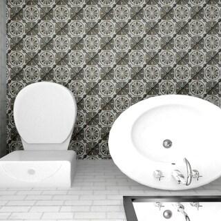 SomerTile 7.75x7.75-inch Gavras Cendra Decor Daisy Ceramic Floor and Wall Tile (25 tiles/11.5 sqft.)