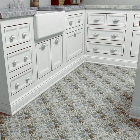 Somertile 7 75x7 75 Inch Gavras Cendra Decor Dahlia Ceramic Floor And Wall Tile