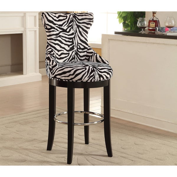 Traditional Zebra Print Fabric Bar Stool By Baxton Studio
