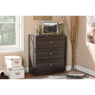 Baxton Studio Decon Modern and Contemporary Espresso Brown Wood 3-Drawer Storage Chest