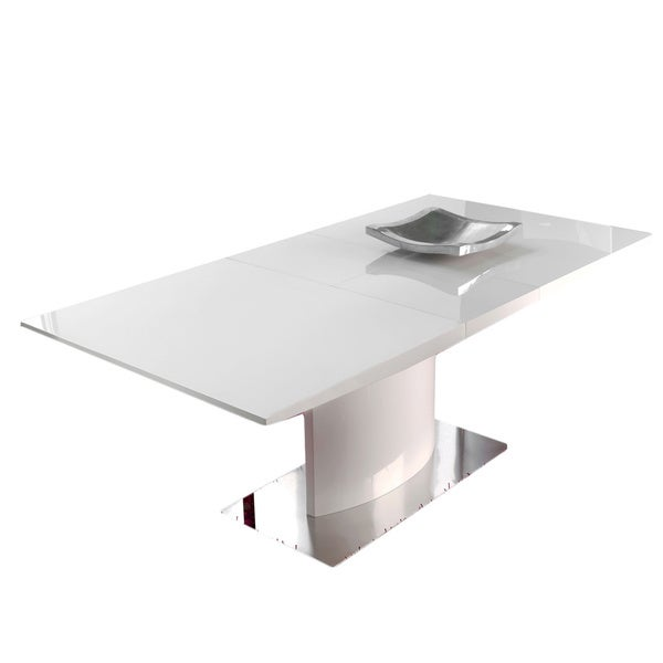Luca Home White Highgloss Dining Table Free Shipping Today - White high gloss dining table