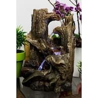 Alpine 5-Tiered Rainforest Tree Trunk Tabletop Fountain w/ LED Lights, 14 Inch Tall