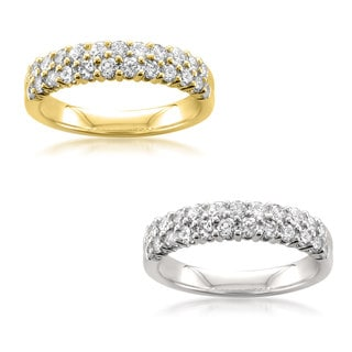 Montebello 14k Yellow or White Gold 1ct TDW Round-cut White Diamond Double-row Wedding Band