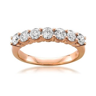 Montebello 14k or 18K Rose Gold 1ct TDW Round-cut White Diamond Wedding Ring