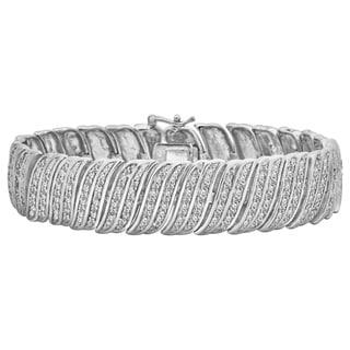 Divina Silver Overlay 2ct TDW Diamond Bracelet (I-J, I2-I3)