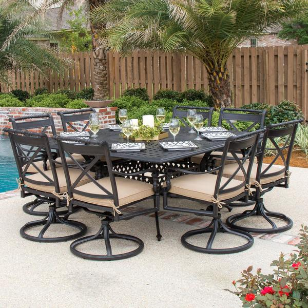 Carrolton 9 Piece Cast Aluminum Patio Dining Set With Swivel Rockers