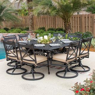 Carrolton 9-piece Cast Aluminum Patio Dining Set with Swivel Rockers