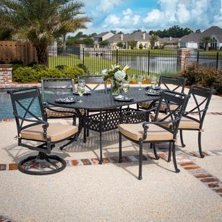 Carrolton 7-piece Cast Aluminum Oval Patio Dining Set with 4 Dining Chairs and 2 Swivel Rockers