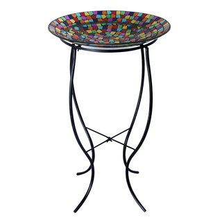 27-inch Mosaic Bird Bath with Metal Stand