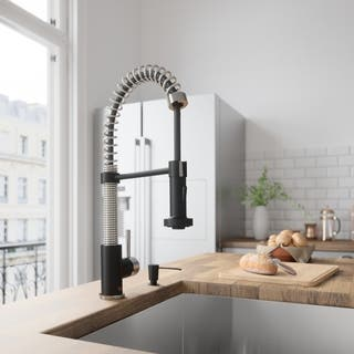 VIGO Edison Stainless Steel and Matte Black Pull-Down Spray Kitchen Faucet|https://ak1.ostkcdn.com/images/products/10333199/P17443614.jpg?impolicy=medium