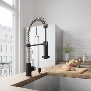 VIGO Edison Stainless Steel and Matte Black Pull-Down Spray Kitchen Faucet