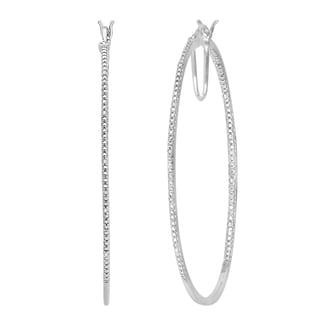 Divina Sterling Silver 1/20ct TDW Diamond Hoop Earrings