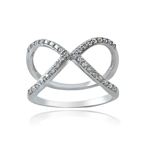 Icz Stonez Sterling Silver Cubic Zirconia 'X' Ring
