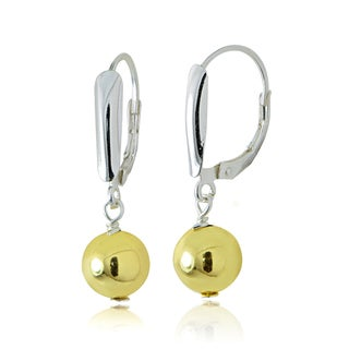 Mondevio Sterling Silver Two-Tone Shield and Bead Leverback Earrings