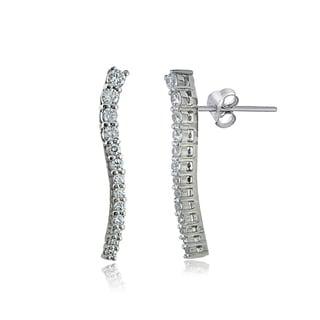 Icz Stonez Sterling Silver Cubic Zirconia Wavy Crawler Earrings