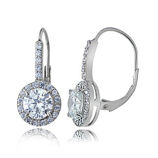 Icz Stonez Sterling Silver Cubic Zirconia Round Leverback Earrings