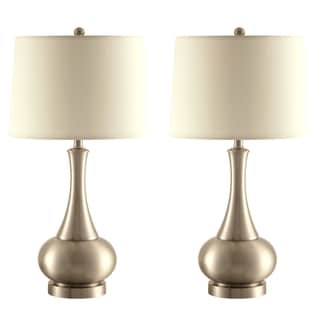 Aladdin Silver Table Lamp with White Fabric Shade (Set of 2)