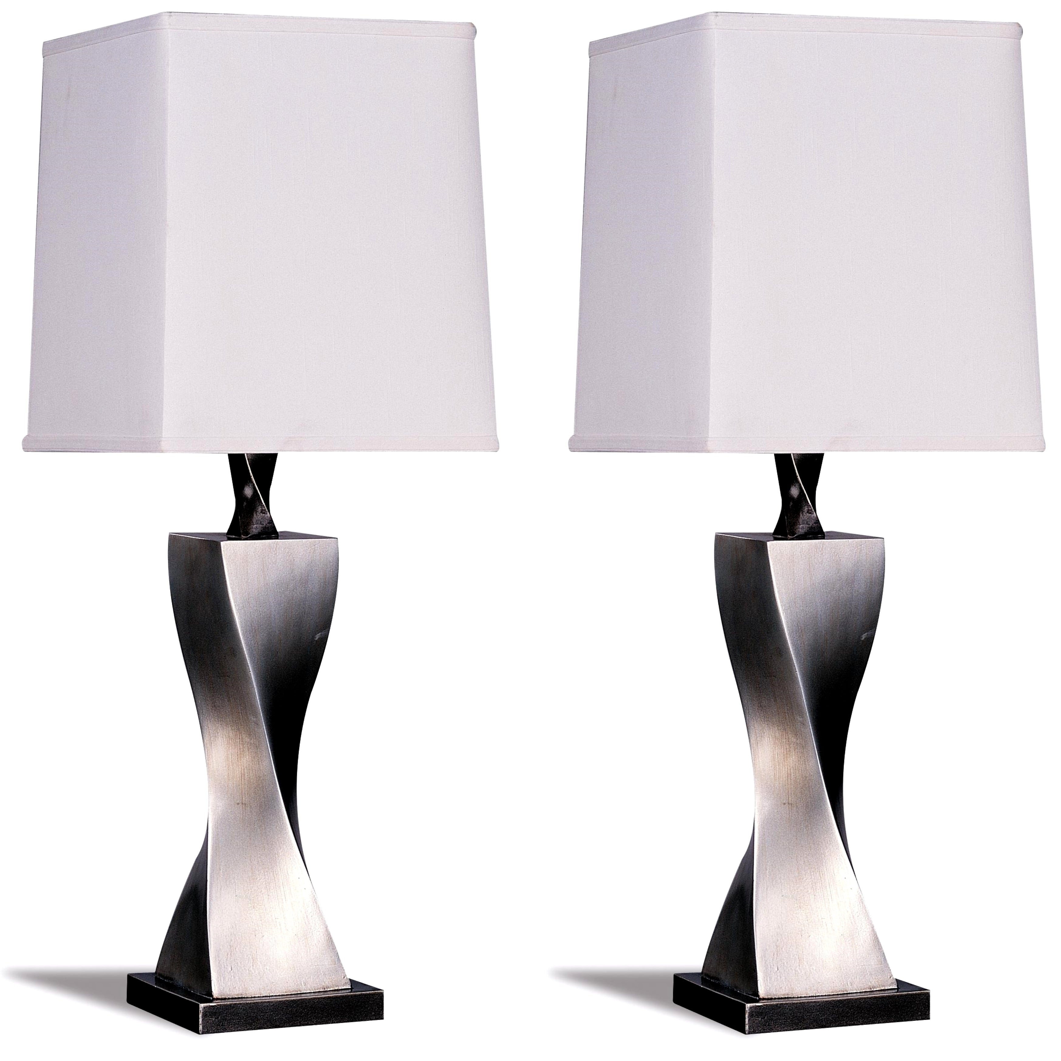 Montana Antique Silver Spiral Table Lamp with Shade (Set ...