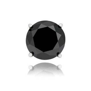 Finesque Sterling Silver or Platinum Over Sterling Silver 1ct TDW Single Black Diamond Stud Earring
