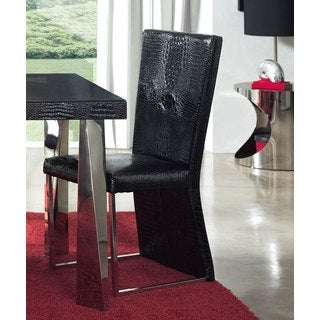 Luca Home Black Patterned Dining Chair (Set of 2)