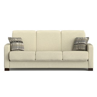 Handy Living Trace Convert-a-Couch Ivory Chenille Futon Sofa Sleeper