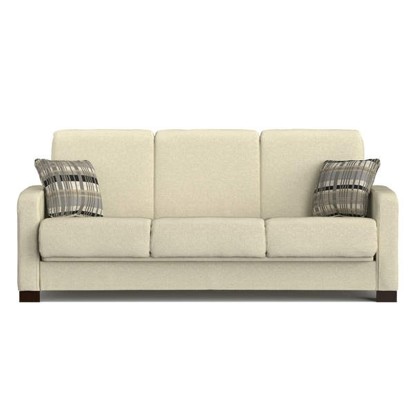 Convertible Sofa Bed Miami: Handy Living Trace Convert-a-Couch Ivory Chenille Futon