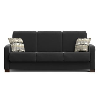 Handy Living Trace Convert-a-Couch Black Microfiber Futon Sofa Sleeper