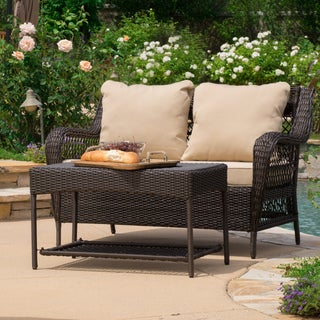 Christopher Knight Home Palermo 2-piece Outdoor Wicker Sofa Set with Cushions
