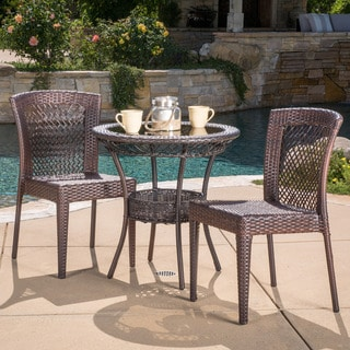 Farley Outdoor Multi-brown 3-piece Wicker Bistro Set by Christopher Knight Home