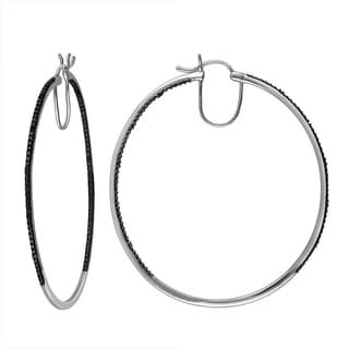 Divina Sterling Silver Black Diamond Accent Hoop Earrings