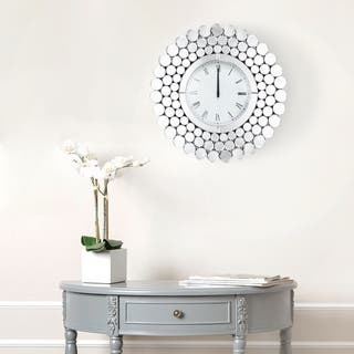 Radiance Round Wall Mirror Clock By Abbyson