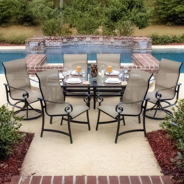 La Salle 6 Person Sling Patio Dining Set With Glass Top Table