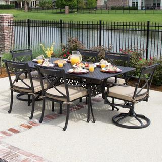 Carrolton 6-Person Cast Aluminum Patio Dining Set With 2 Swivel Rockers and Rectangular Table