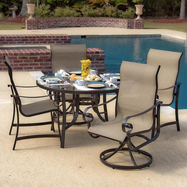 la salle 4 person sling patio dining set with glass top table free