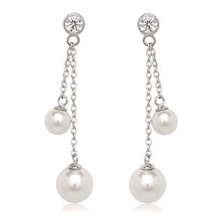 La Preciosa Sterling Silver Cubic Zirconia and Faux Pearl Dangle Earrings