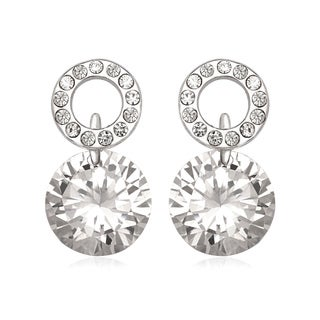 La Preciosa Sterling Silver Cubic Zirconia and Crystal Circle Earrings