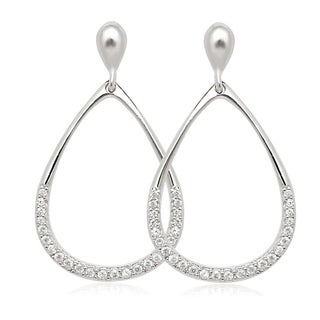 La Preciosa Sterling Silver Cubic Zirconia Open Teardrop Earrings