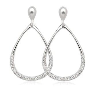 La Preciosa Sterling Silver Cubic Zirconia Open Teardrop Earrings