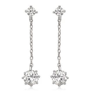 La Preciosa Sterling Silver Cubic Zirconia Chain Dangle Earrings