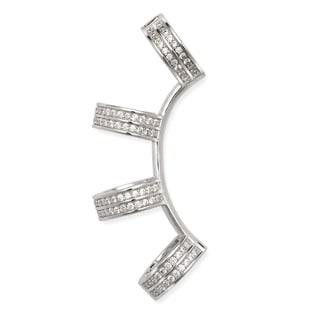 La Preciosa Sterling Silver Cubic Zirconia 4-ring Hinged Single Ear Crawler Earring