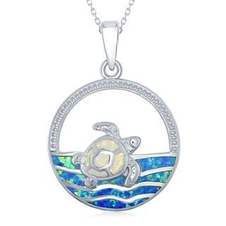 La Preciosa Sterling Silver White Inlay Created Opal Sea Turtle Pendant