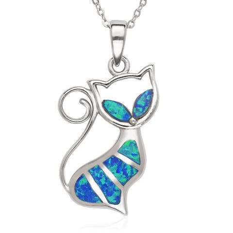 La Preciosa Sterling Silver/Rose Gold Plated Blue and White Created Opal Cat Pendant 18'' Necklace