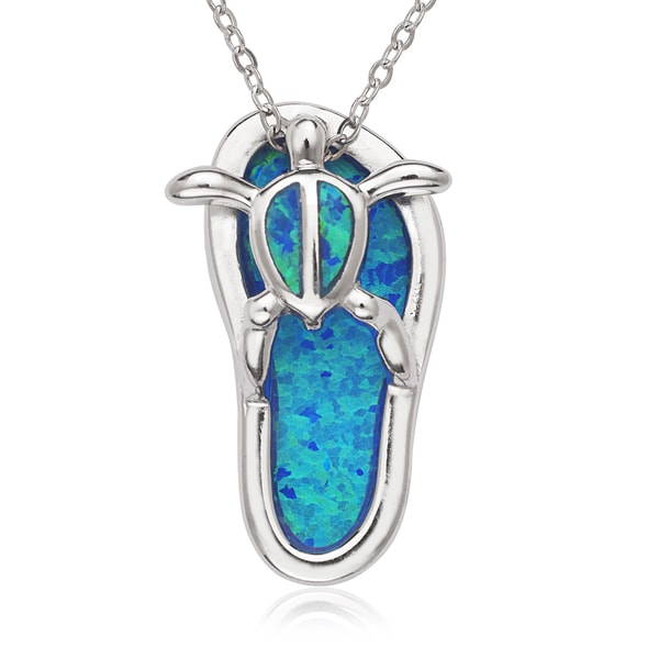 La Preciosa Sterling Silver Created Blue Opal Turtle Flip-Flop Pendant
