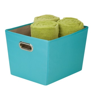 Decorative Blue Storage Bin with Handles