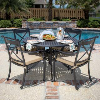 Carrolton 4-Person Cast Aluminum Patio Dining Set With Round Table