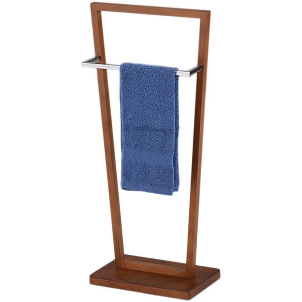 K & B BS-1378 Towel Stand Chrome / Walnut Finish