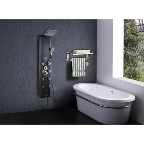 AKDY SP0032 52-inch Black 8-jet Handheld Massage Shower Panel Faucet Mixer